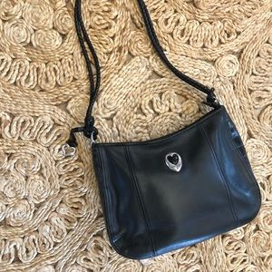 Vintage 90s Brighton black leather purse silver